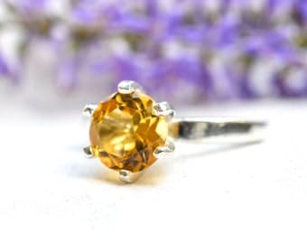 Natural Citrine Six-Claw Ring with 925 Sterling Silver *Free Worldwide Shipping*