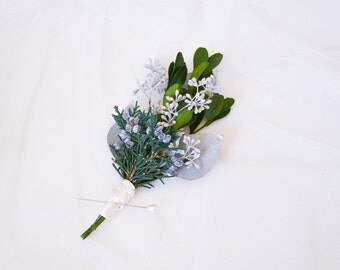 Wedding boutonniere, Natural buttonhole, Woodland boutonniere, Green lapel pin, Wedding buttonhole, Natural boutonniere - GRAHAM