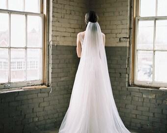 wedding veil, bridal veil, cathedral veil, fingertip veil, long veil, english net veil, chapel veil, ivory wedding veil chapel - ANNABELLE