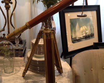 Vintage Mid-Century Wood and Brass Nautical Ship Harbor or Military Telescope on Stand