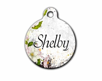 Cute Dog Tag,Floral Pet tag,Dog Id Tag,Floral Pet Tags,metal Dog Tags,Cat Tag,Made in the USA, Blue Fox Gifts,PET_046