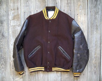Vintage DeLong Varsity Jacket - Wool Leather - Brown Yellow Gold - Men's Size 42