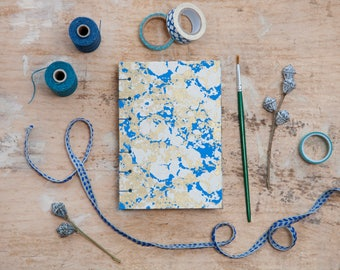 Hand Bound Sketchbook - Blue, Gold & White - Coptic Stitch - A6 / Small - Travel Journal / Notebook / Diary / Guest Book
