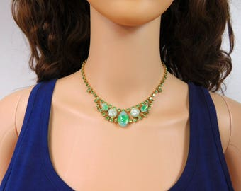 Green Opal Moonstone Necklace Peridot Rhinestone Choker Green Prom Necklace Seafoam Bridal Necklace for Bride Vintage Necklace Jewelry