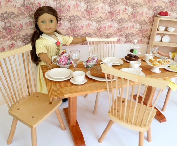 Colonial Doll TABLE for 18-inch dolls such as American Girl® Felicity.  Options for table alone or table with four chairs.