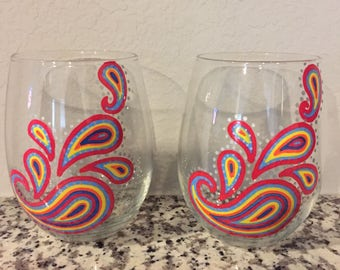 Hand Painted Paisley Wine Glass - set of 2