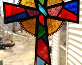 Colorful Stained Glass Cross- Crucifix Suncatcher - Multi colored red, amber, blue and green.