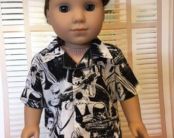Button Down Shirt fits American Girl Logan and 18 inch dolls
