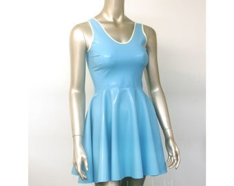 Latex Rubber Mini dress with full circle skirt in 0.50mm latex