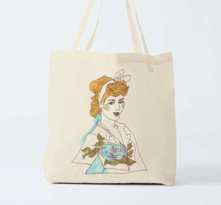 Pin Up, Tote bag, gift women, canvas bag, fabric tote, reusable ...