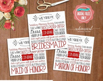 "3PC Set Bridesmaid Proposal Cards ""Cake Tasting, Red"" (Printable File Only) Card for Bridesmaid Maid and Matron of Honor Be My Bridesmaid"