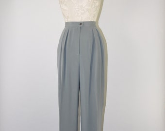 90s pewter silk trousers / 1990s high waisted pants / vintage tapered leg pants