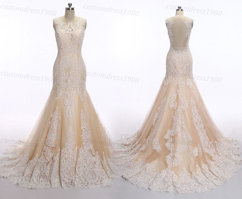 Mermaid Lace Wedding Dress Vintage Champagne Wedding Dresses