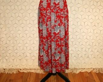 Bohemian Print Skirt Pleated High Waisted Skirt Medium 90s Grunge Long Skirt Rayon Red Maxi Skirt Liz Claiborne Womens Vintage Clothing