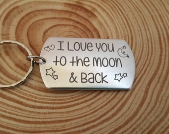 I love you to the Moon & Back Engraved Key Chain | Gift for Her | Girlfriend Gift | Gift for Daughter | Gift for Mom