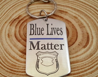 Engraved Police Key Chain | Blue Lives Matter Dog Tag Key Chain | Police Force | Customize the Badge