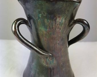 Antique French Studio Art Pottery Vase 3 Handled Victorian 1880