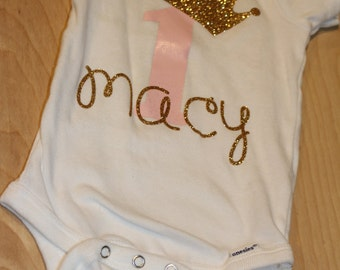 One Year Smash Cake Birthday Outfit - First Birthday Outfit - Little Girl Onesie - Princess Crown First Birthday