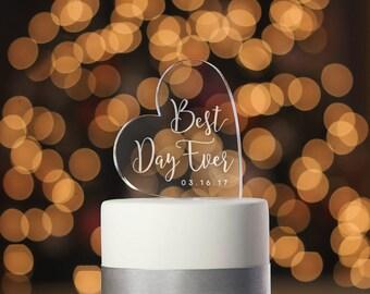 Best Day Ever Cake Topper, Custom Engraving, Cake Topper, Calligraphy Cake Topper, Bridal Shower Cake Topper, Engagement Cake Topper (T360)