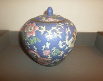 Stunning Vintage Pink and Blue Ginger Jar with Original Lid Pristine Condition