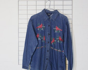 denim leafy cardinal button up shirt
