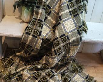 Vintage welsh blanket - Mustard Yello & White - Circa 1940s