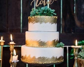 Love Wedding Cake Topper, Cake Topper, Rustic cake topper, Wedding Cake Toppers, Wedding cake, Script Cake Topper, Glittery Cake Topper