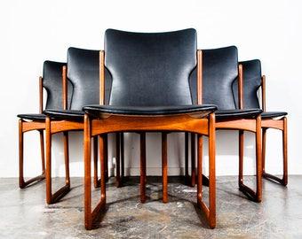 Mid Century Danish Modern Dining Chairs Set 6 Solid Teak Vamdrup stolefabric Mobler Art Furn Black Chair Vodder Jalk Andersen FREE SHIPPING