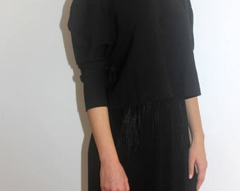 choker neck long sleeve  black sweater