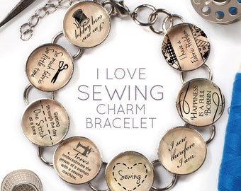 """I Love Sewing - Glass Charm Bracelet with Silver Singer Sewing Machine Charm, 6.75""""-8.75"""""""