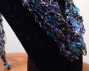 Silver, purple and blue Trellis Necklace / Crochet Necklace Item No. 121a