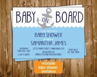 Nautical Baby Shower Invitation, Nautical Printable Baby Shower Invitation, Anchor Baby Shower, Baby On Board Blue Navy Shower Invita
