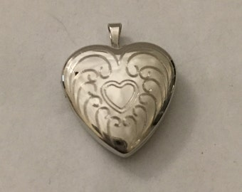 Sterling Silver Heart Locket Pendant Vintage Etched Jewelry 925 4 Necklace Victorian Birthday Anniversary Holiday Christmas Gift