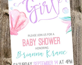 Baby Shower Invitation: It's a girl Watercolor- Underwater Bubbles - Mermaid