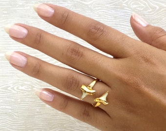 Nature Lovers Gifts Gold Fossilized Natural Shark Tooth Ring Fossil Jewelry Fossil Ring Shark Tooth Fossil Wraparound Ring Janna Conner