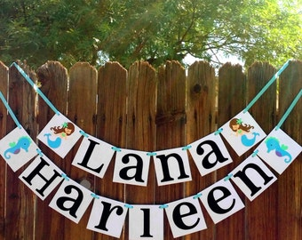 Custom Mermaid Seahorse Name Banner / Kids Room Decor / Childs Name / Personalized Name / Nursery Sign / Wall Art / Nursery Sign / Baby Name