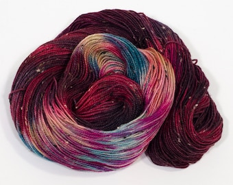 Hand Dyed Yarn | Variegated Donegal Tweed Yarn in Red, Blue,Pink, Orange | Superwash Merino Wool | Hand Dyed Sock Yarn | Crimson Blues