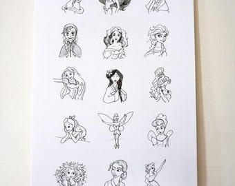 Disney Princess Sketch Wall Art