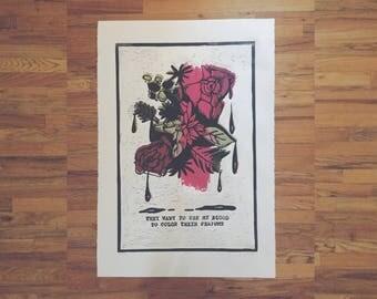 "Linocut Print - ""Starfish""   Fine Art, Relief Print, Floral Art, Feminist Art, Original Drawing, Riot Grrrl"