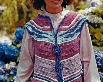 Sunrise Crochet Vest Vintage Crochet Pattern Download
