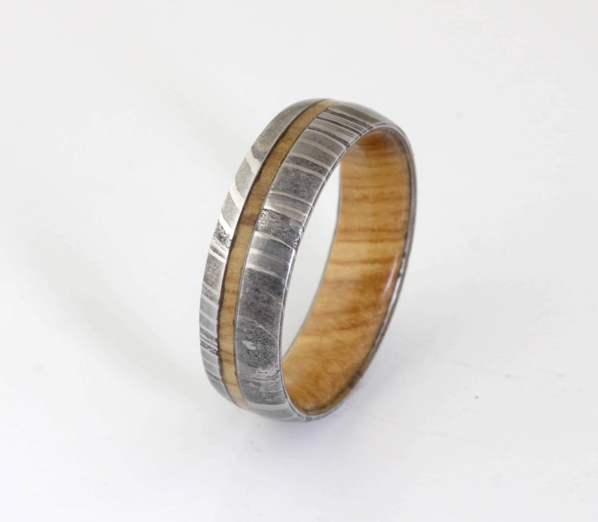 wood ring DAMASCUS steel ring wood wedding band man ring OLIVE