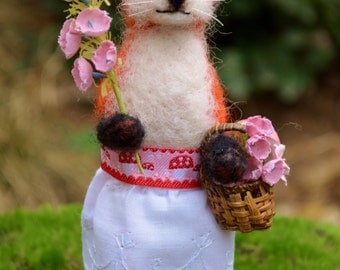 Lady Fox one of a kind needle felted sculpture