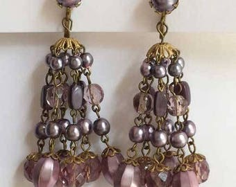 Enchanting, Dangling 'Shades of Purple' Beaded Earrings