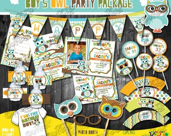 Owl Birthday party package, owl Party package, First Birthday Owl party,1st Birthday fall party, boys party,owl birthday Bash