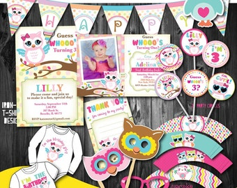 Girl's Adorable Owl Birthday party package,Printable Owl Party Decoration,First Birthday Owl party,1st Birthday fall party  Decor,Printables