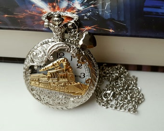 Vintage Style Charming Train Watch, Quartz Watch, Steampunk Pocket Watch with Necklace Chain