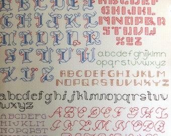 More Backstitch Alphabets Mini Series Number 20 By Leisure Arts Vintage Cross Stitch Pattern Leaflet 1988