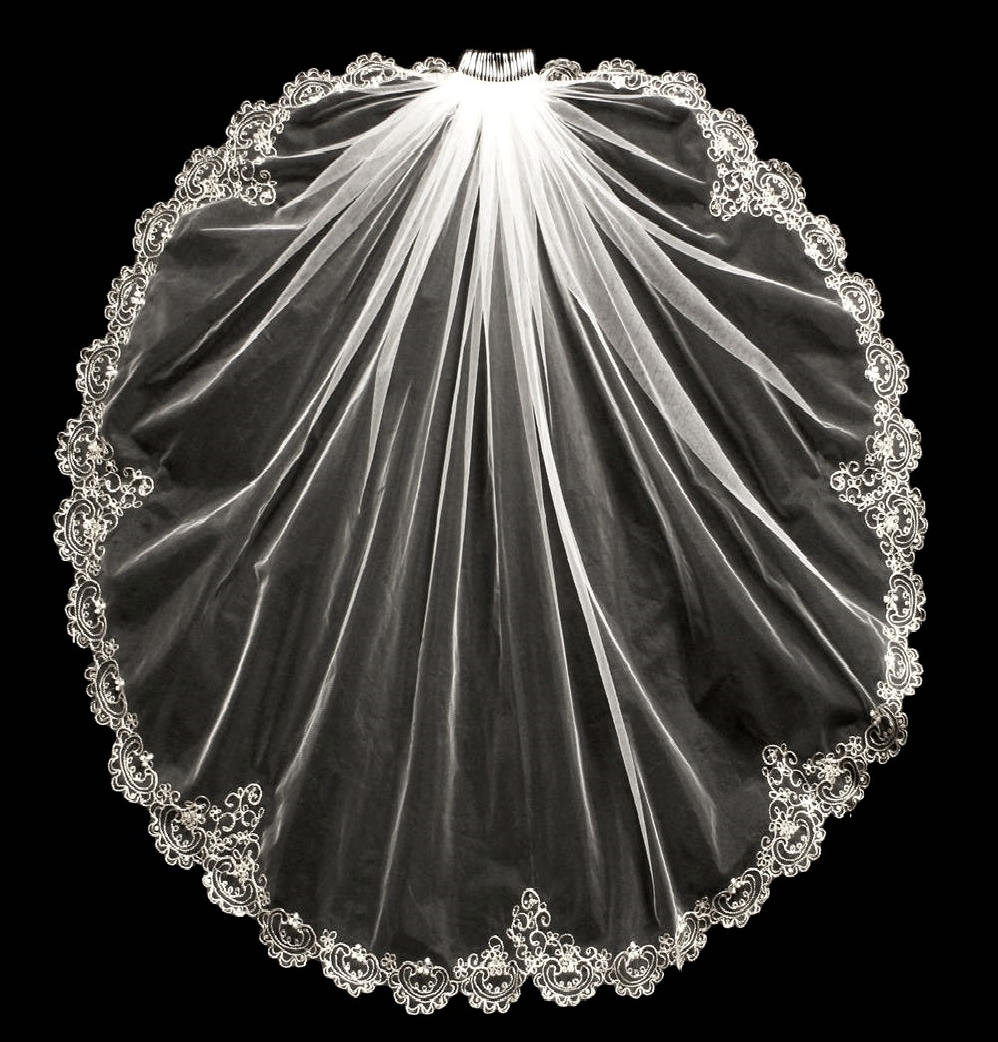 Beaded silver embroidery wedding veil in elbow cathedral or