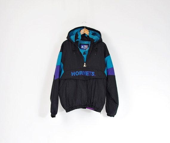 90s Charlotte Hornets Starter Kangaroo Hooded Jacket / Size L
