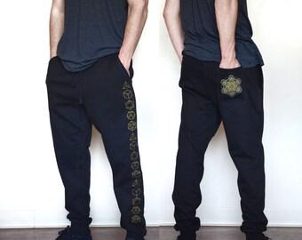 Platonic Solid Joggers - Jogger Sweatpants - Sacred geometry Joggers - Festival Sweatpants - Mens Jogger Pants - Harem pants